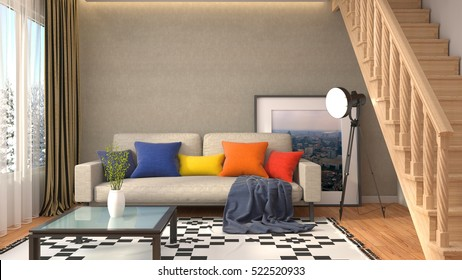 interior with sofa. 3d illustration.