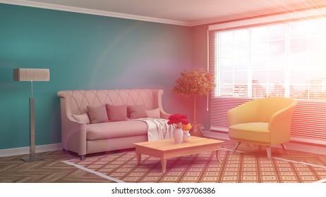 Retro Modern Interior Living Room And Stock Illustration 672227140 ...