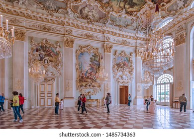 The interior of some pavilions of the Nymphenburg Palace, that is a Baroque Palace designed by Agostino Barelli in 1664. Munich. German. May. 2014.