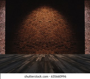 Interior space, bricks wall with hardwood floor