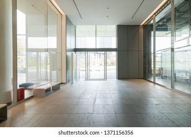 Interior space, white walls and glass windows