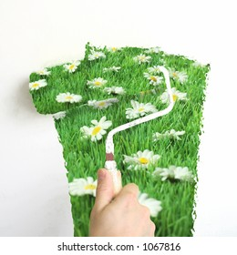 interior spring decoration : paint a wall with 'spring-green' paint