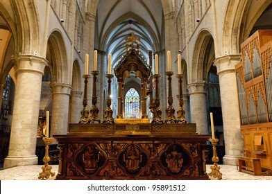 Interior of St. Michael and St. Gudula Cathedral, Brussels, Belgium
