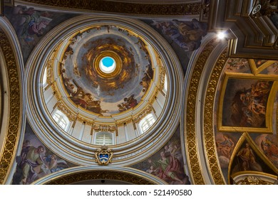 Interior of St. Paul's Cathedral or the Mdina Cathedral, a Roman Catholic cathedral in Mdina, Malta, dedicated to St. Paul the Apostle, Europe, September 2016