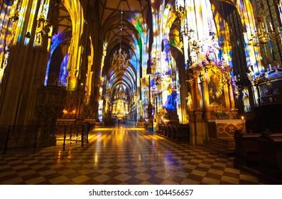 Interior of St. Stephen's Cathedral.  Vienna, Austria