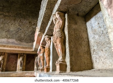 Interior of Stabian baths (Terme Stabiane) in Pompeii, Italy