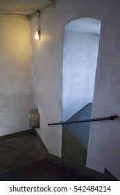 Interior stairway and window in stone tower, Taunus, Germany