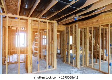 Interior stick built frame of a new house under construction