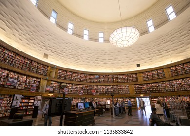 Interior of Stockholm Public Library (Stockholms Stadsbibliotek), Stockholm, Sweden - 20 Jun 2018: It is designed by Swedish architect Gunnar Asplund, and one of the city's most notable structures.