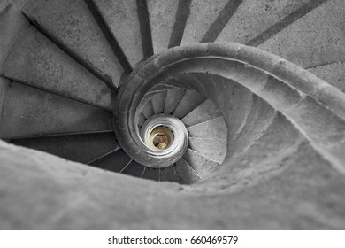 Interior of a stone spiral staircase