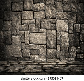 interior with stone wall background