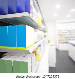 Interior store, detail of shelves with blank bosex