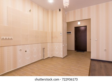 Interior of studio apartment, view from the room to the front door and kitchen without furniture