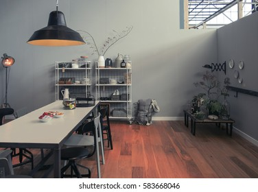 interior of studio in vintage ecological style