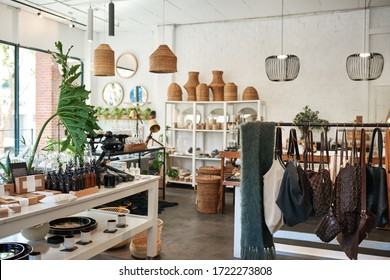 Interior of a stylish boutique full of an assortment of housewares, bags and accessories for sale