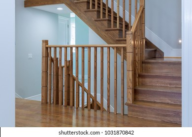 Interior of stylish house: corridor, entry, staircase