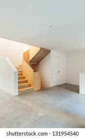 Interior of stylish modern house, staircase view