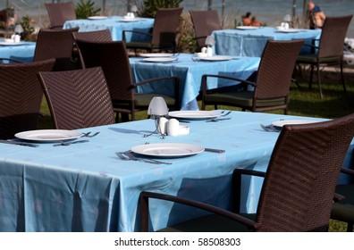 interior of a summer terrace of restaurant in Turkey