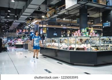 The interior of Supermarket at Department Store Bangna-Trad road Bangkok Thailand, October 23, 2018