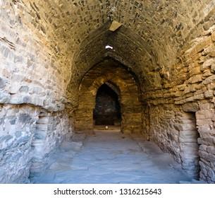 interior of Tash Rabat caravanserai in Tian Shan mountain , Naryn province, Kyrgyzstan