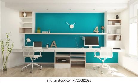 Interior of a teen bedroom - 3 d render