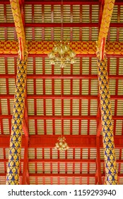 Interior of temple decorated with beautiful gold and red coler