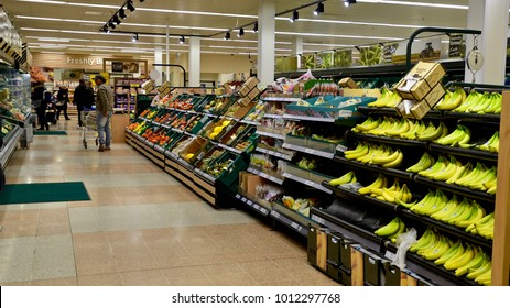 Interior of Tesco supermarket, fruit aisle. Canonmills, Edinburgh, Scotland UK. January 2018