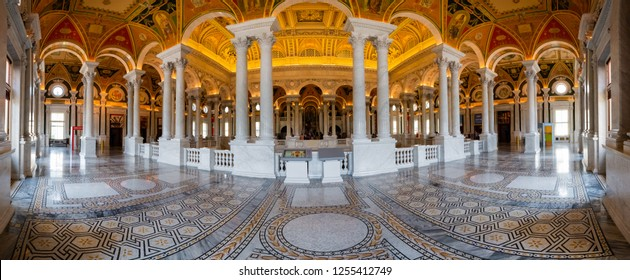 The interior of the Thomas Jefferson Building  the Library of Congress, July 27,2018 in Washington, DC.USA