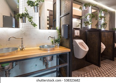 Interior of a toilet in the restaurant