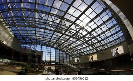 Interior of trade center called Atlantic city. Russia. Saint petersburg. Savushkina street 126. June. 2017.