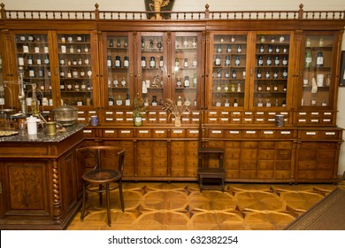 The interior of the trading hall of an old pharmacy