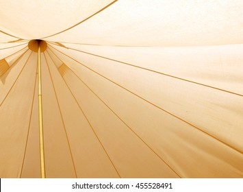 Interior of a traditional canvas bell tent - background