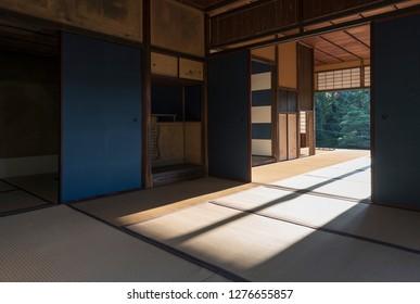 interior of Traditional Japanese house in  Katsura Imperial Villa,  Arashiyama, Kyoto, Japan