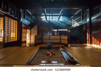 Interior of traditional old japanese house in historical Tsumago post town.