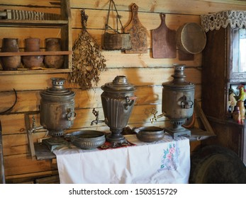 Interior of the traditional rural Russian house with a samovar. Russia, Elton - september, 2019