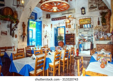 interior of a traditonal greek restaurant