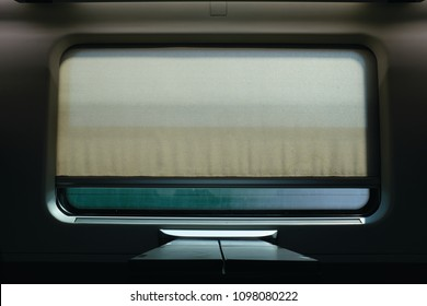 interior of a train with a window