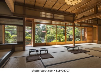 Interior of a tranditional Japanese tea and dessert house with Zen garden in Kyoto, Japan