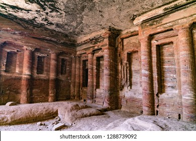 Interior of The Triclinium Tomb, Petra, Jordan.