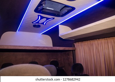 Interior trim and interior decoration machines , Ceiling with led strip .