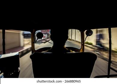 The interior of a tuk tuk taxi in India