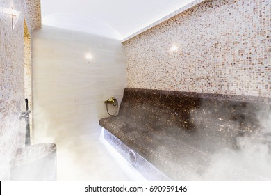 Interior of Turkish sauna, classic Turkish hammam