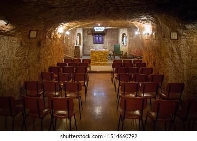 Interior underground Catacomb Church - Coober Pedy Outback Australia 25.09.2019