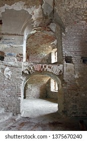 The interior of the unfinished part of the old Fortress of Brod, a fortress in Slavonski Brod, Croatia. The fortress was constructed in the 18th century as a defense against the Ottoman Empire
