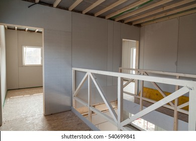 Interior of unfinished prefabricated wooden house