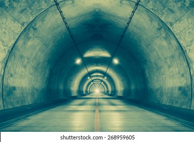 Interior of an urban tunnel at mountain without traffic