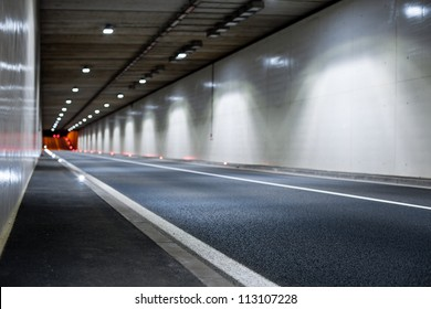 Interior of an urban tunnel without traffic from