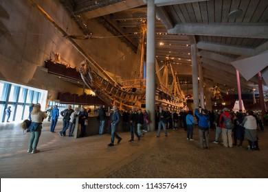 Interior of the Vasa Museum (Vasamuseet) and Vasa itself, Stockholm, Sweden - 22 Jun 2018: It is the most visited museum in Scandinavia.