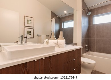 Interior view of a bathroom with the lights on