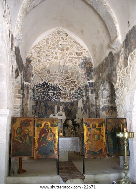 Interior view of the chuch of Agios Yiorgos (St George) in a Cretan mountain village.